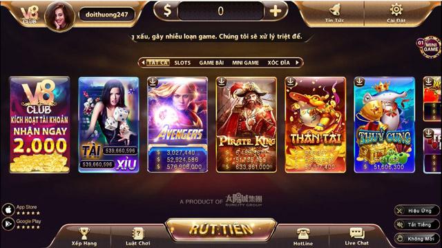 San pham cuoc hap dan tai cong game V8club